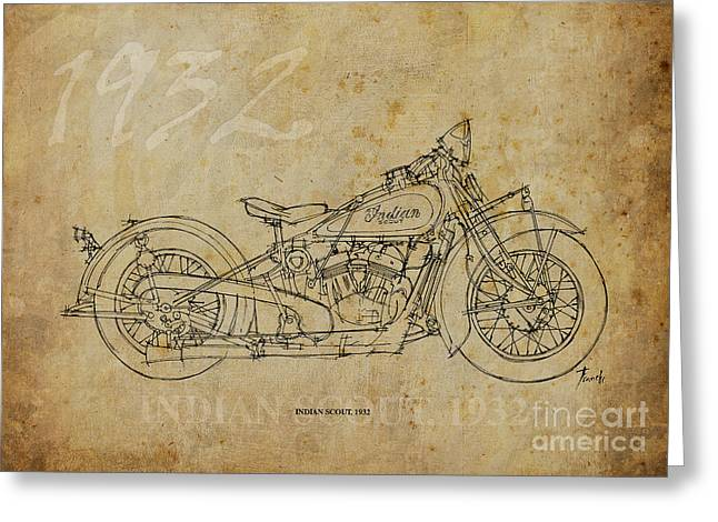 Indian Ink Mixed Media Greeting Cards - Indian Scout 1932 Greeting Card by Pablo Franchi