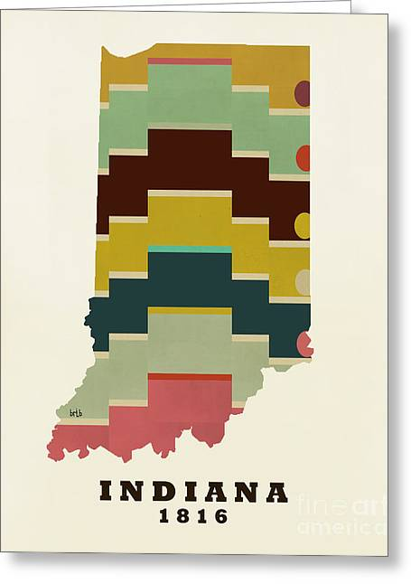 World Map Print Paintings Greeting Cards - Indiana State Map Modern Greeting Card by Bri Buckley