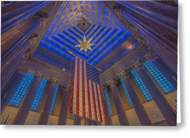 Indiana University Greeting Cards - Indiana War Memorial Shrine  Greeting Card by David Haskett