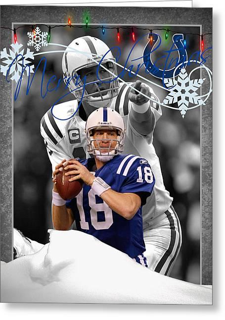 Peyton Manning Greeting Cards - Indianapolis Colts Christmas Card Greeting Card by Joe Hamilton