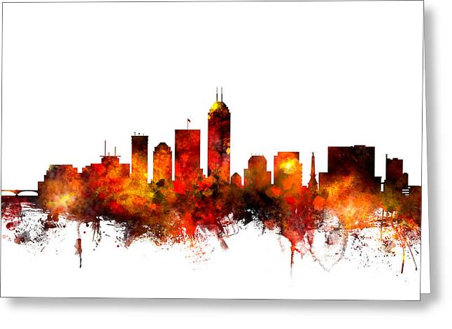 Indiana. Greeting Cards - Indianapolis Indiana Skyline Greeting Card by Michael Tompsett