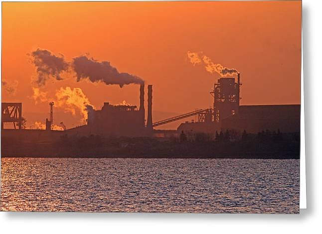 Jim Nelson Greeting Cards - Industrial Sunrise Greeting Card by Jim Nelson