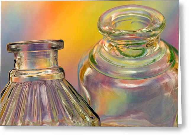 Pairs Greeting Cards - Ink Bottles on Color Greeting Card by Carol Leigh