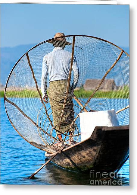 Entrapment Greeting Cards - Inle lake - Myanmar Greeting Card by Luciano Mortula