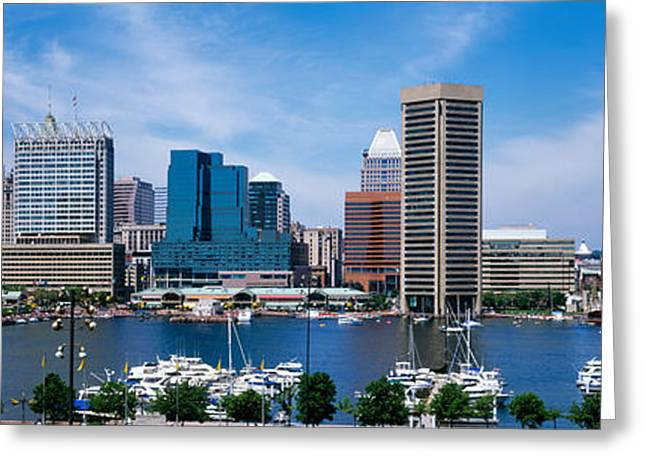 Md Greeting Cards - Inner Harbor, Baltimore, Maryland, Usa Greeting Card by Panoramic Images