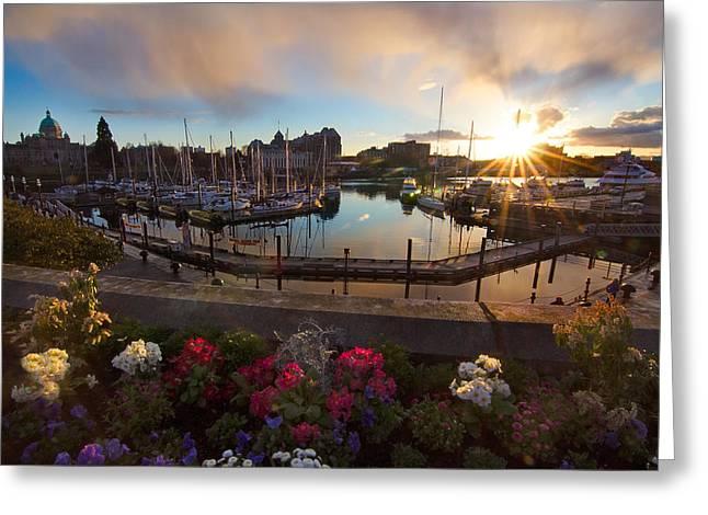 Ocean Art Photgraphy Greeting Cards - Inner Harbour Equinox Greeting Card by Heather K Jones