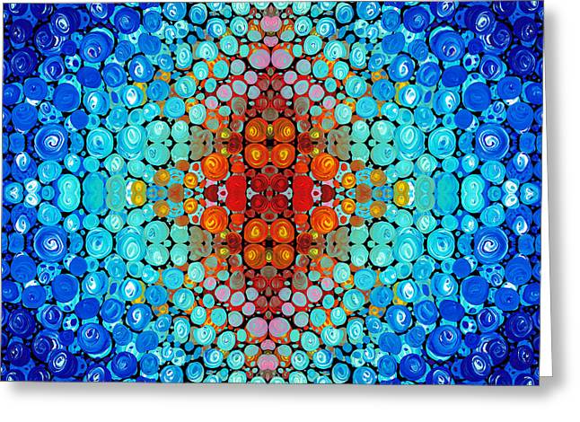 Mosaic Mixed Media Greeting Cards - Inner Light - Abstract Art By Sharon Cummings Greeting Card by Sharon Cummings