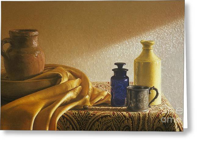 Cloth Pastels Greeting Cards - Inspired by Vermeer Greeting Card by Barbara Groff