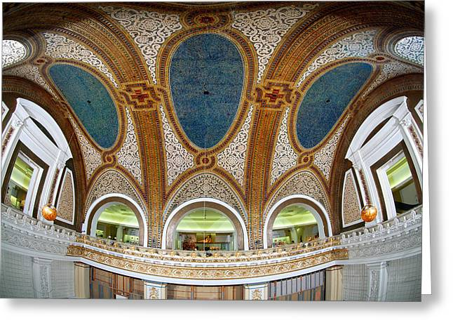 Tiffany Greeting Cards - Interior Detail Of Tiffany Dome Greeting Card by Panoramic Images
