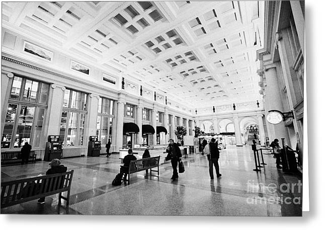 North Vancouver Greeting Cards - interior hall of Waterfront rail train station Vancouver BC Canada Greeting Card by Joe Fox