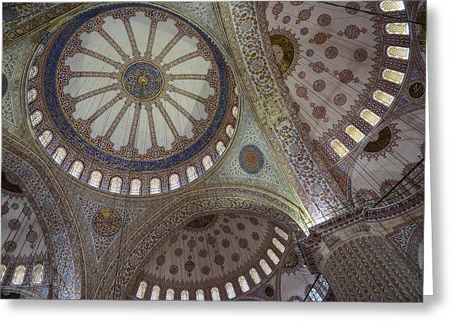 Medieval Temple Greeting Cards - Interior of Blue Mosque in Istanbul Turkey Greeting Card by Brandon Bourdages