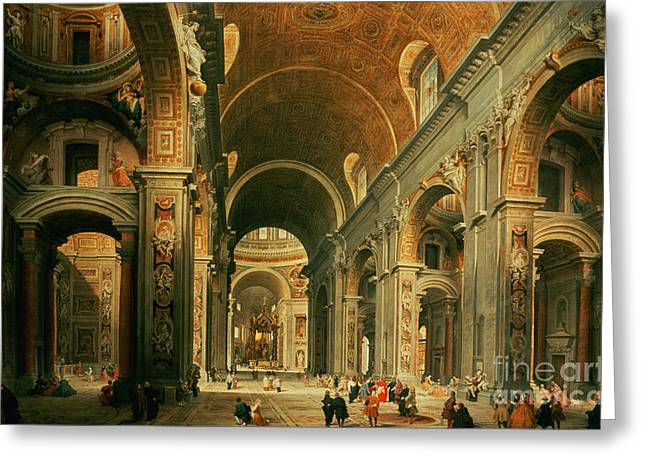 Hallways Greeting Cards - Interior of St Peters in Rome Greeting Card by Giovanni Paolo Panini