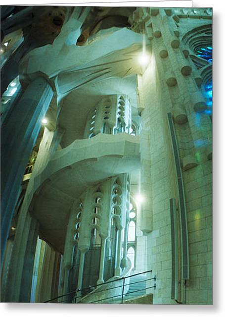 Sagrada Greeting Cards - Interiors Of A Church Designed Greeting Card by Panoramic Images
