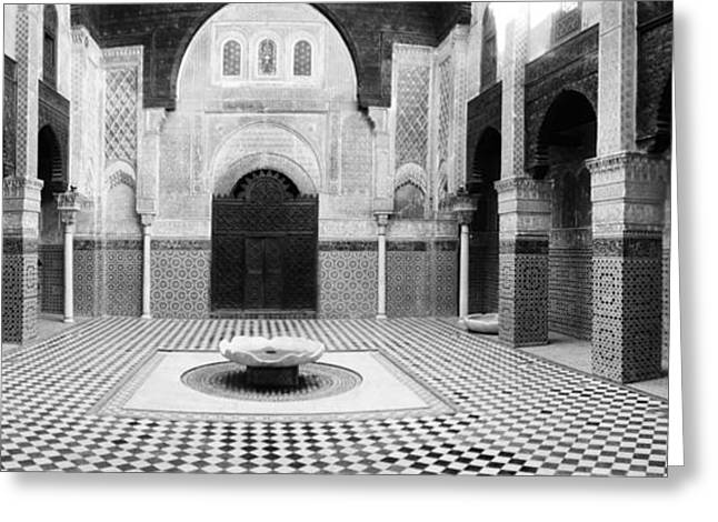 Moroccan Courtyard Greeting Cards - Interiors Of A Medersa, Medersa Bou Greeting Card by Panoramic Images