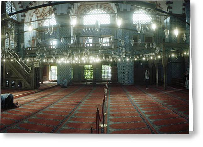 Knelt Photographs Greeting Cards - Interiors Of A Mosque, Rustem Pasha Greeting Card by Panoramic Images