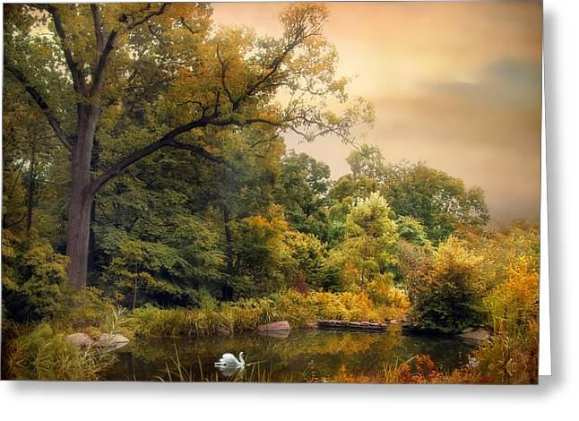 Swans... Greeting Cards - Intimate Autumn Greeting Card by Jessica Jenney