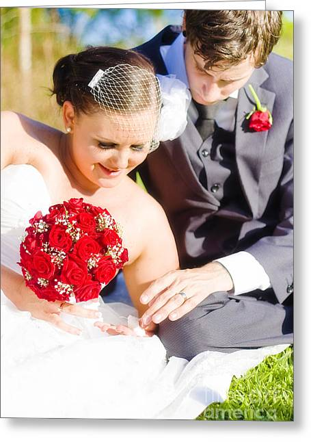 Gold Buttons Greeting Cards - Intimate Wedding Moment Greeting Card by Ryan Jorgensen
