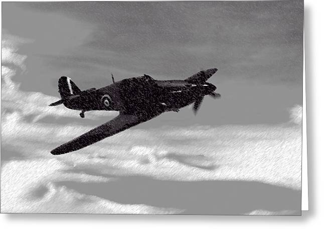 Spitfire Mixed Media Greeting Cards - Into The Storm Greeting Card by Roy Pedersen