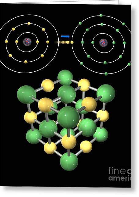 Bonding Greeting Cards - Ionic Bonding In Sodium Chloride, Artwork Greeting Card by Carlos Clarivan