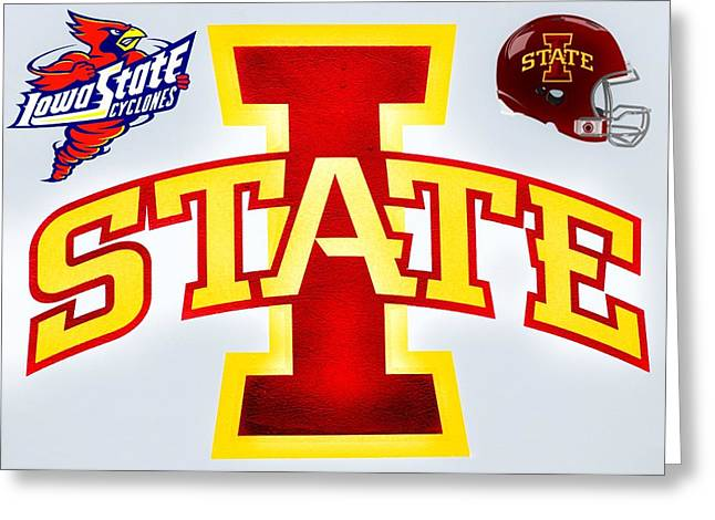 Basket Ball Game Mixed Media Greeting Cards - Iowa State University 2 Greeting Card by Todd and candice Dailey