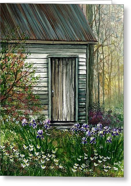 Award Winning Floral Art Greeting Cards - Iris By Barn Greeting Card by Steven Schultz