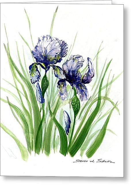 Award Winning Floral Art Greeting Cards - Iris I Greeting Card by Steven Schultz