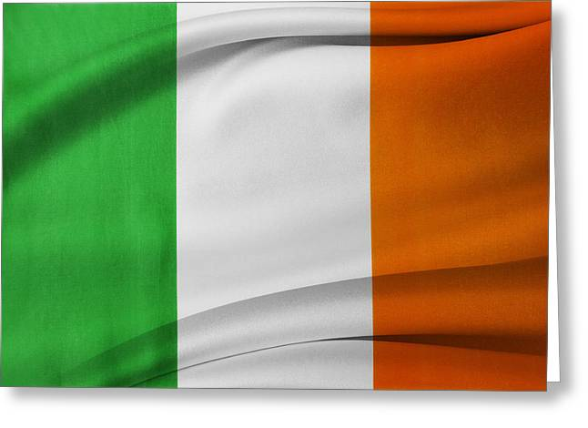 Abstract Waves Photographs Greeting Cards - Irish flag Greeting Card by Les Cunliffe