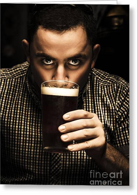 1950s Portraits Greeting Cards - Irish man drinking beer on St Patricks Day Greeting Card by Ryan Jorgensen