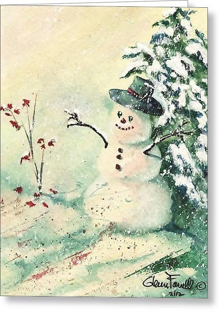 Button Nose Greeting Cards - Irish Snowman Greeting Card by Glenn Farrell