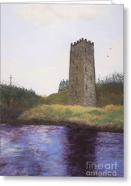 Middle Ages Pastels Greeting Cards - Irish Tower Greeting Card by Ginny Neece