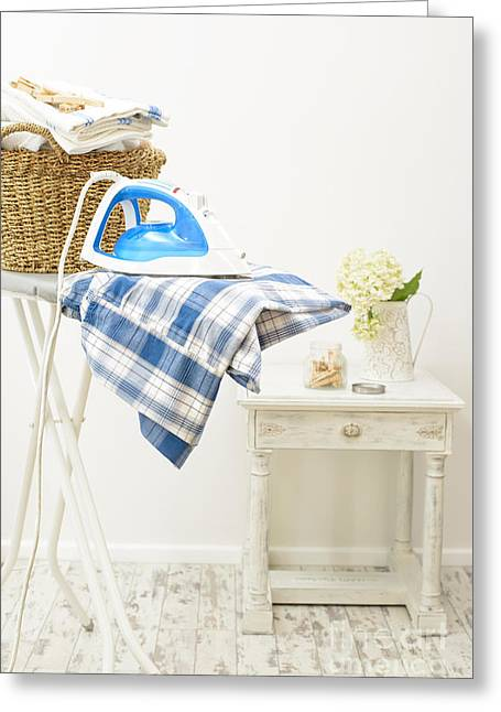 Laundry Greeting Cards - Ironing Greeting Card by Amanda And Christopher Elwell