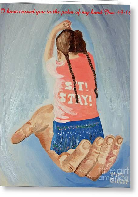 Praying Hands Mixed Media Greeting Cards - Isaiah forty nine sixteen Greeting Card by Shan Gillard