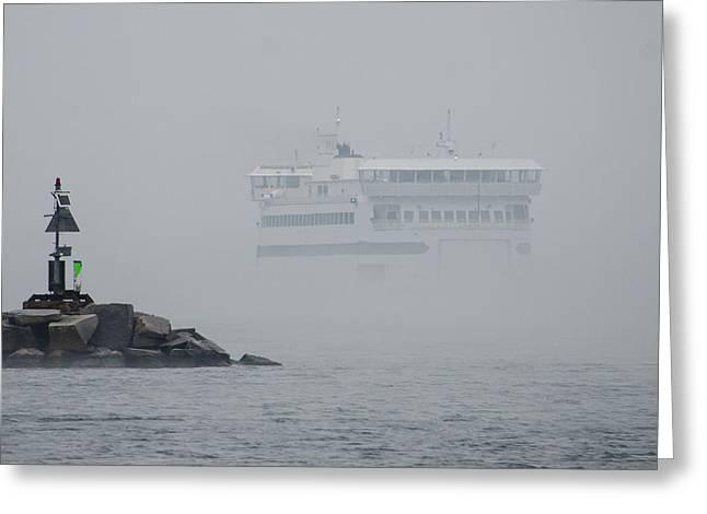Vineyard Haven Greeting Cards - Island Home in Fog Greeting Card by Steve Myrick