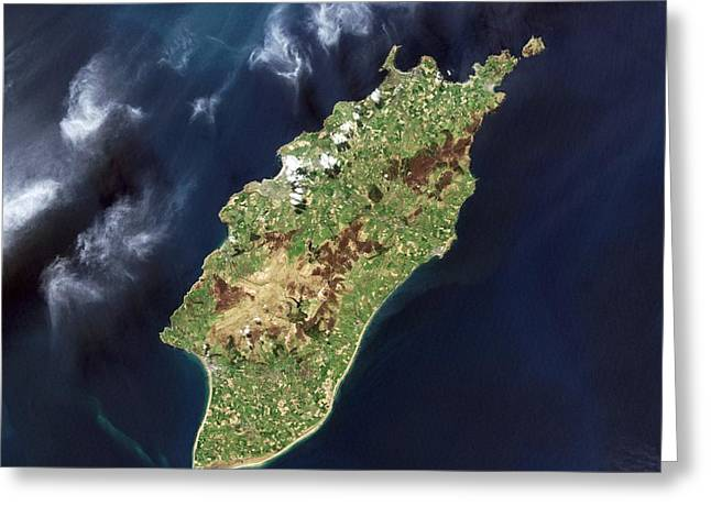 Mann Greeting Cards - Isle of Man, satellite image Greeting Card by Science Photo Library