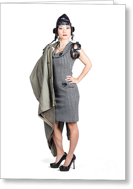 Leather Coat Greeting Cards - Isolated asian pin up lady. Air force style Greeting Card by Ryan Jorgensen