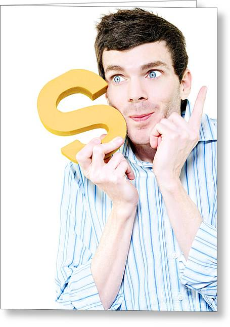 Eye Gestures Greeting Cards - Isolated Businessman With S For Solution On White Greeting Card by Ryan Jorgensen