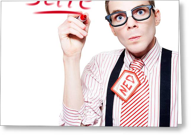 Isolated Funny Nerd Advertising A Store Sale Greeting Card by Jorgo Photography - Wall Art Gallery