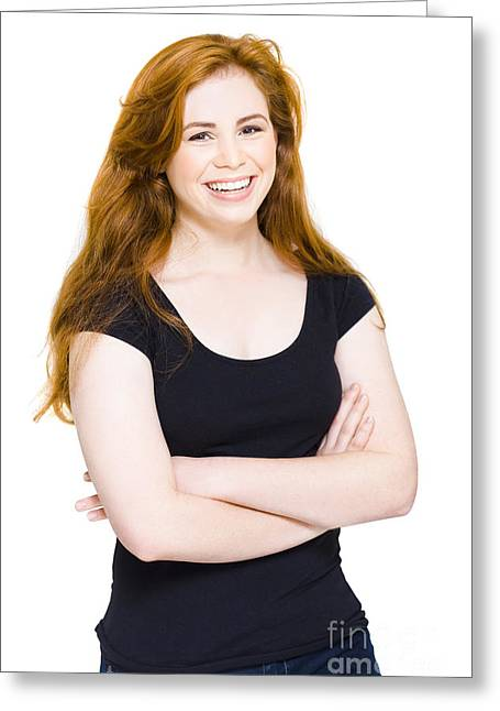 Isolated Happy Young Woman Smiling On White Greeting Card by Jorgo Photography - Wall Art Gallery