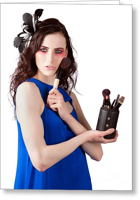 Isolated Makeup Artist Holding Blush Powder Brush Greeting Card by Jorgo Photography - Wall Art Gallery