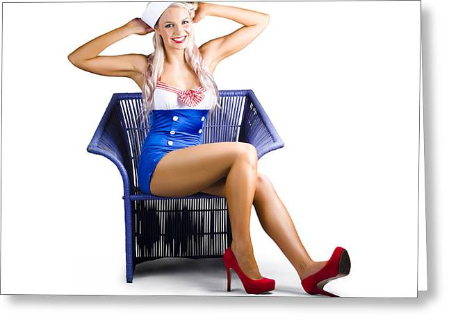 Navy Dress Greeting Cards - Isolated navy pinup girl on white background Greeting Card by Ryan Jorgensen