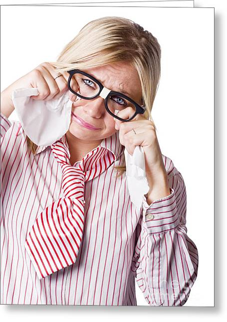 Desperate Greeting Cards - Isolated Sad Business Woman Crying Into Tissue Greeting Card by Ryan Jorgensen