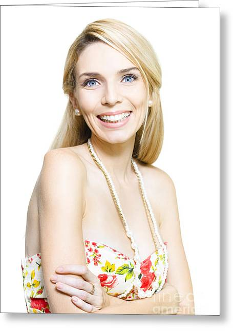 Animate Greeting Cards - Isolated Studio Pic Of A Happy Young Smiling Woman Greeting Card by Ryan Jorgensen