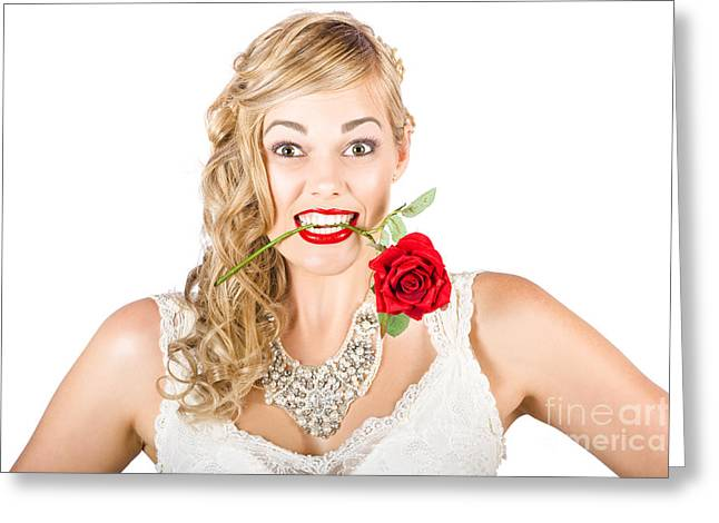 Clenched Teeth Greeting Cards - Isolated Woman Holding Rose During Valentines Day Greeting Card by Ryan Jorgensen