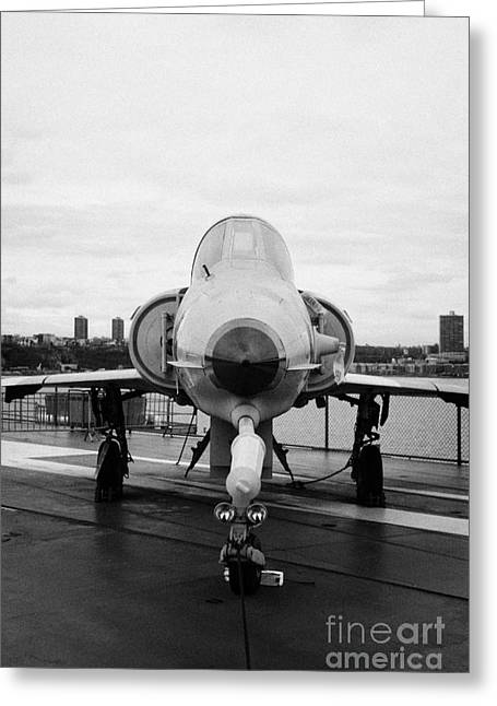 Manhaten Greeting Cards - Israel Aircraft Industries Kfir on disply on the flight deck at the Intrepid Sea Air Space Museum  Greeting Card by Joe Fox