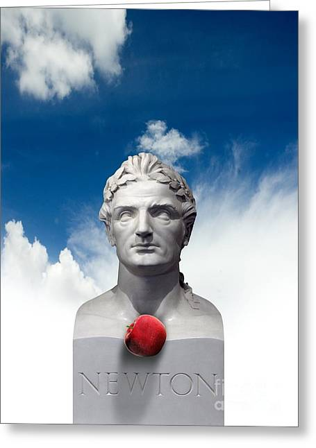 Isaac Newton Greeting Cards - Issac Newton And The Apple, Artwork Greeting Card by Victor Habbick Visions