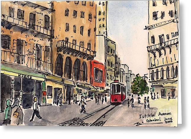 Atat Greeting Cards - Istiklal Avenue Greeting Card by Michael Liebhaber