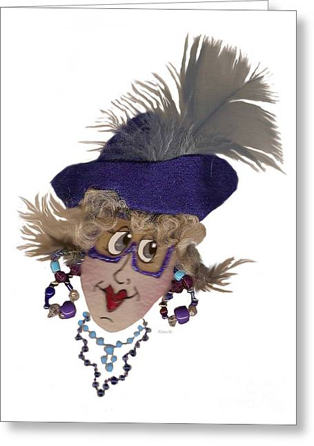 It Is All About Me Whimsical Lady In Blue Greeting Card by Nan Wright