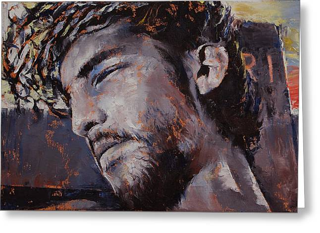 Sacred Paintings Greeting Cards - It Is Finished Greeting Card by Michael Creese