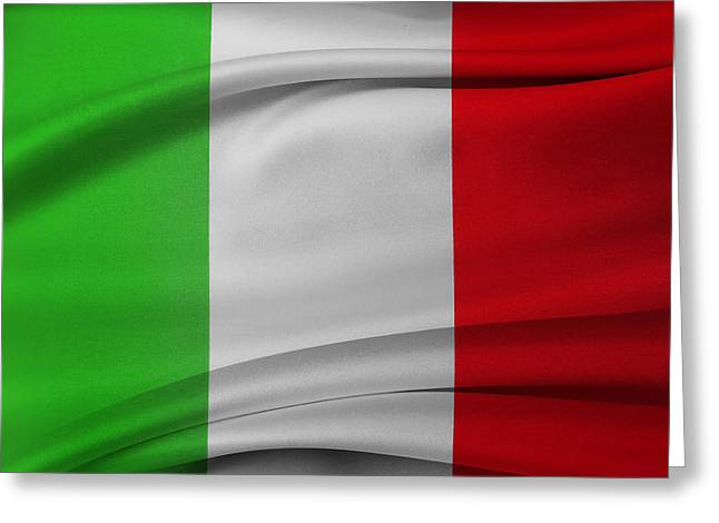 Waving Flag Greeting Cards - Italian flag  Greeting Card by Les Cunliffe