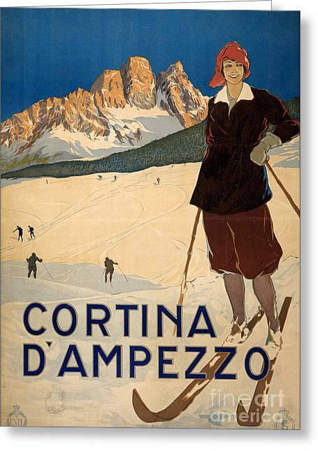 Skiing Poster Greeting Cards - Italian Travel Poster Greeting Card by Granger
